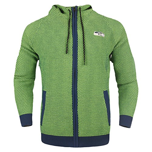 Seattle Seahawks Official NFL Poly Knit Full Zip Hoody - Mens