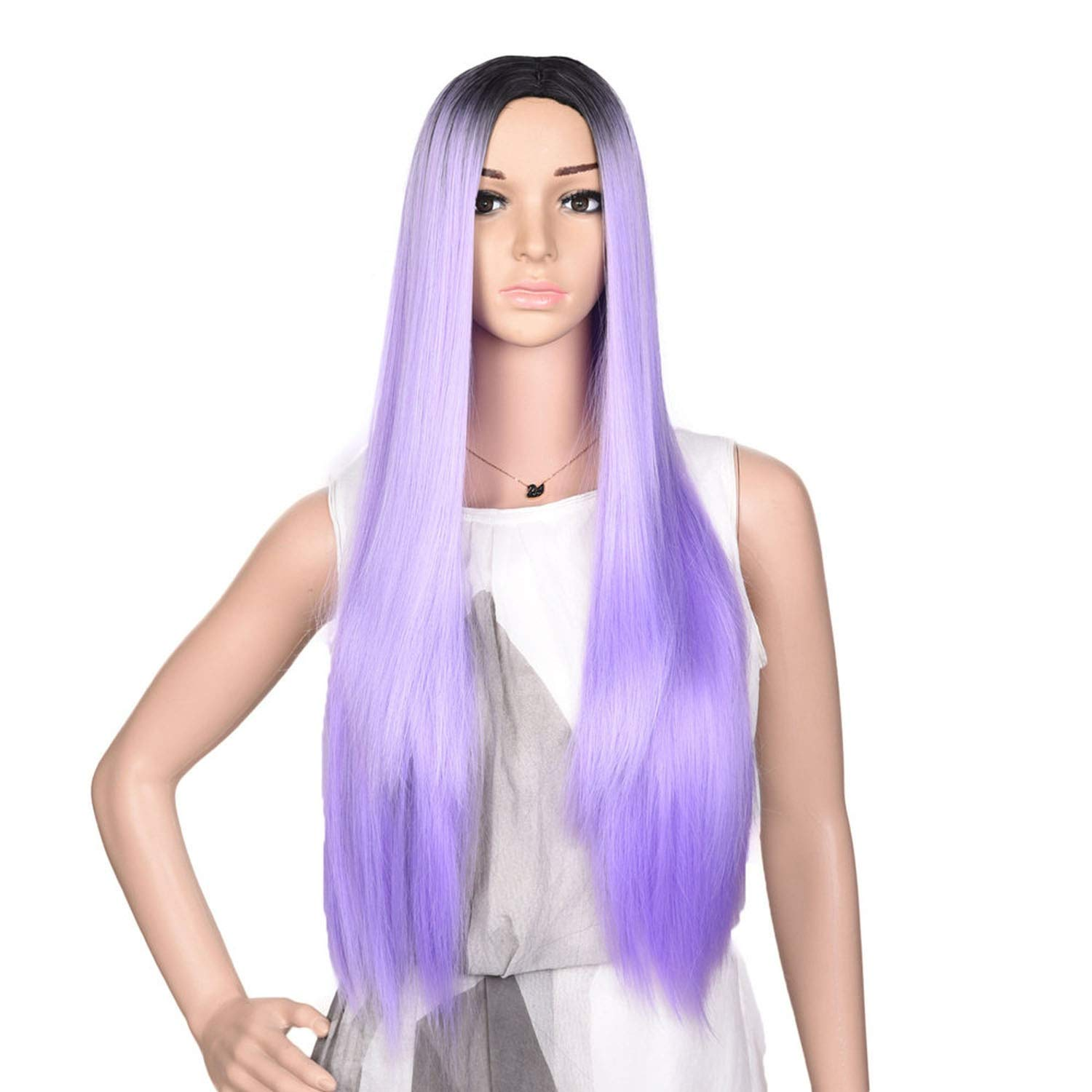 Gray Wig Synthetic Hair 60cm 280g Long Straight Full Head Black Grey Wigs for Women Hair Extensions,purple,24inches