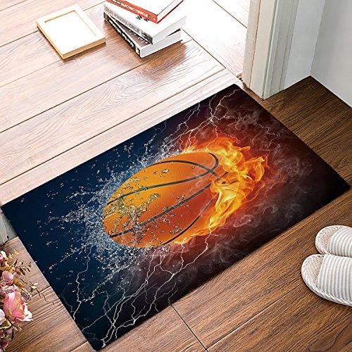 (32 x 20 Inch Fire And Water Basketball Welcome Door Mats Indoor Kitchen Floor Bathroom Entrance Rug Mat Carpets Home Decor Absorbent Bath Doormats Rubber Non Slip)