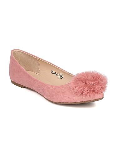 1dfb23dc2e4 Alrisco Women Faux Suede Pointy Toe Pom Pom Ballet Flat GI42 - Dusty Rose  Faux Suede