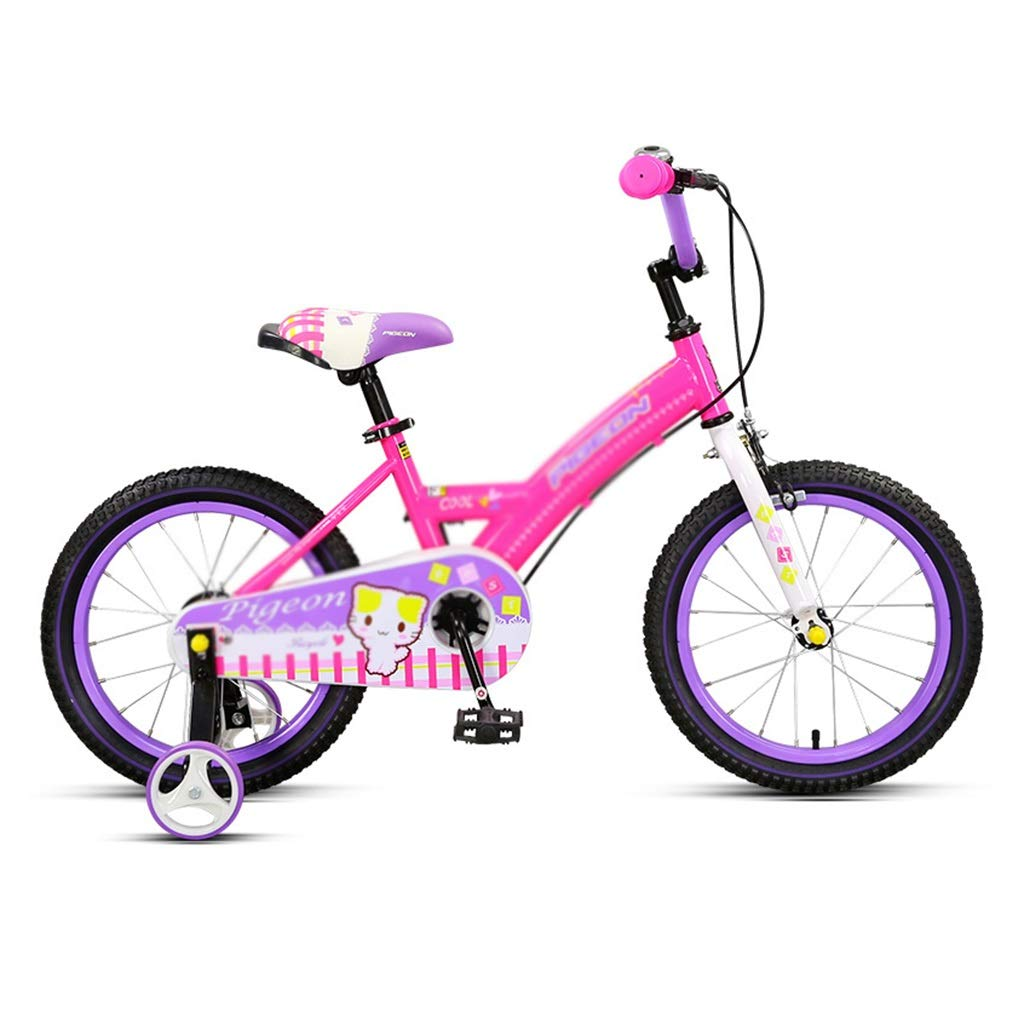 Pink 14inches Kids' Bikes Student Bike Single Speed Mountain Bike Boy Bike Girl Bike 14inch, 16inch, High Carbon Steel Frame (color   Pink, Size   14inches)