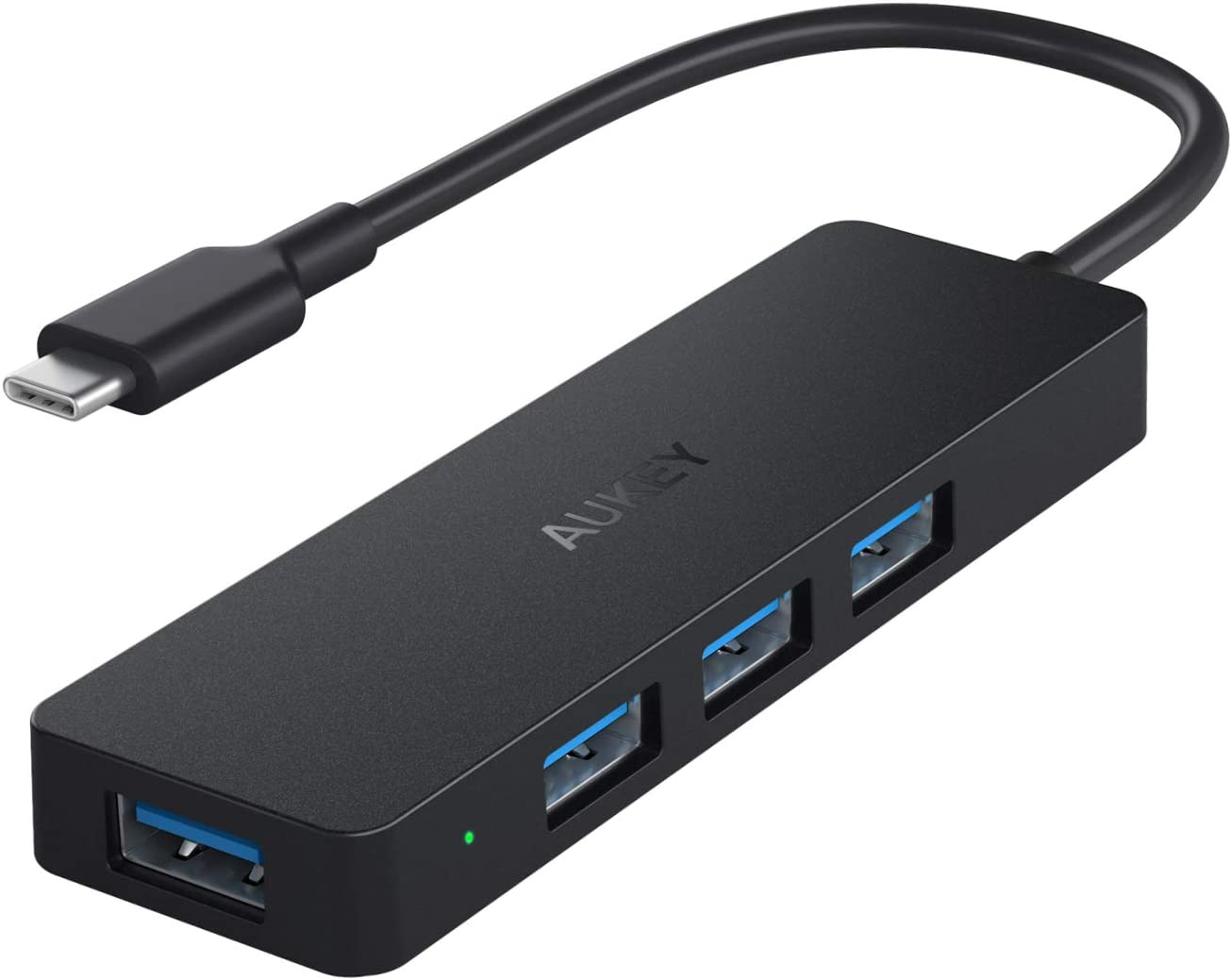 AUKEY USB C Hub Ultra Slim USB C Adapter with 4 USB 3.0 Ports USB Type C Hub for MacBook Pro 2019/2018/2017, Google Chromebook Pixelbook, XPS, Samsung S9/S8 and More USB Type C Devices (Black)