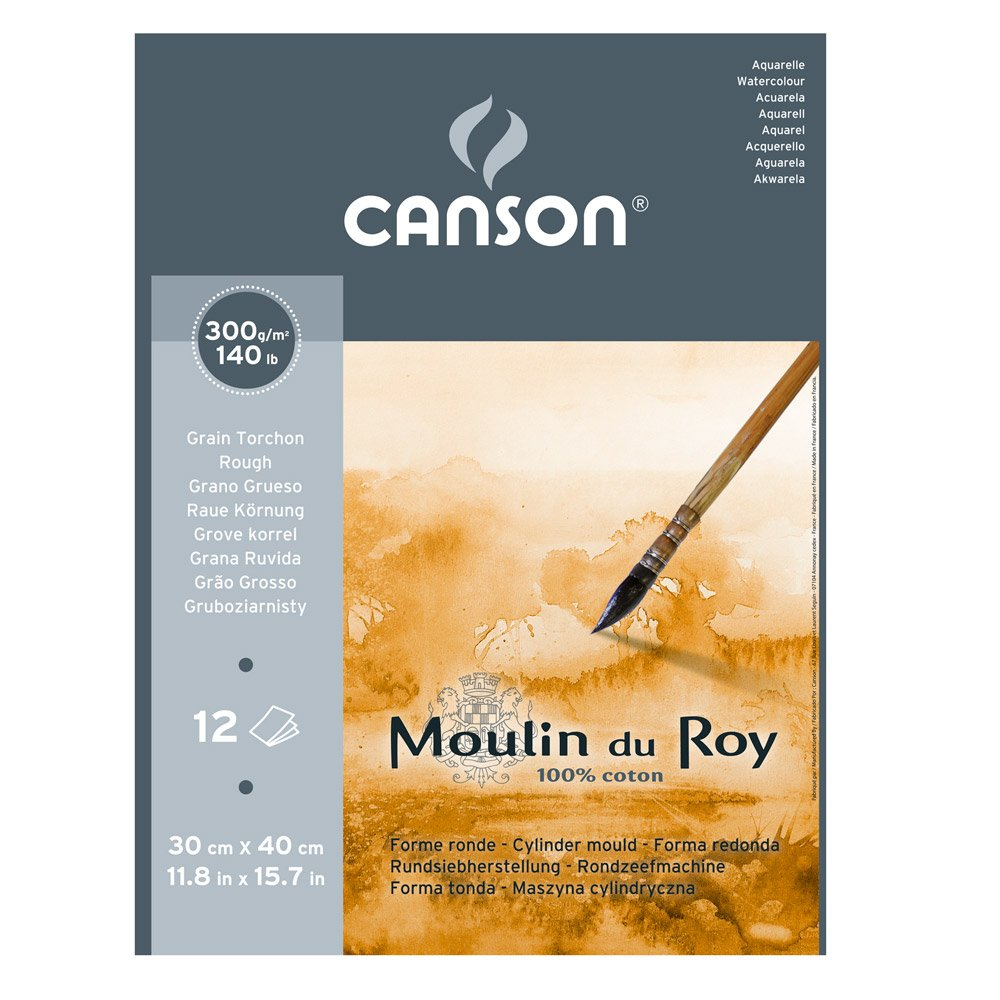 Canson Moulin Du Roy 300gsm watercolour paper, Rough texture, size:30x40cm, Pad of 12 sheets 400028953