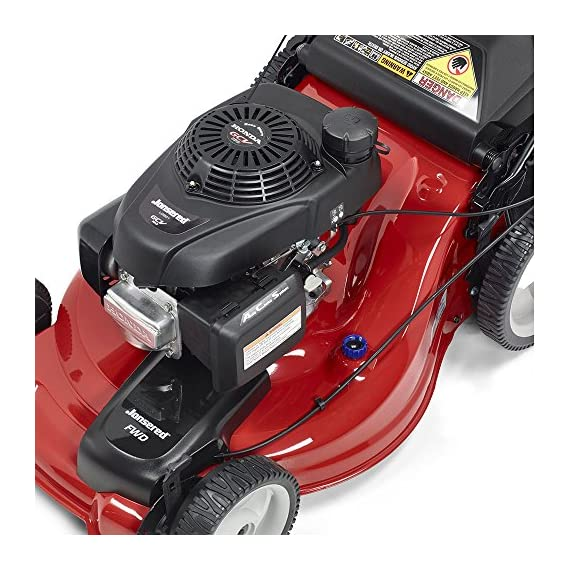 Jonsered L2821, 21 in. 160cc GCV160 Honda 3-in-1 Walk Behind Front-Wheel-Drive Mower 9 Powered by 160cc Honda GCV160 engine with 6.9 ft-lbs Gross torque Dual trigger control system allows you to operate with either hand, or split the effort between both. High-tunnel cutting deck design delivers premium cut quality and bagging performance while providing a close trim, every time.