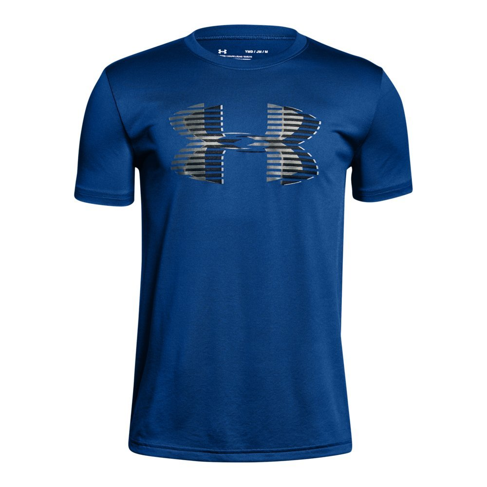 Under Armour Boys' Tech Big Logo Solid T-Shirt, Royal (400)/Graphite, Youth Large by Under Armour