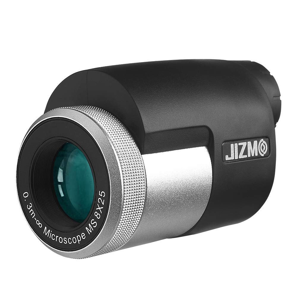 Jizmo 8x25 High Definition Monocular, Close Focus 1 ft, Fully Multi Coated Optical Lens BAK4 Prism, Mens Gift Wide View Monocular Telescope for Bird Watching Hunting Travel Sports Events by Jizmo