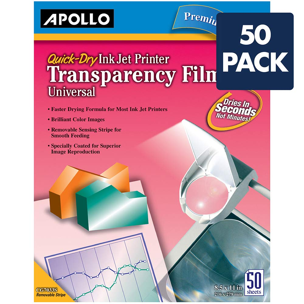 Apollo Transparency Film for Inkjet Printers, Universal, Quick Dry, 50 Sheets/Pack (VCG7033S) by Apollo (Image #2)