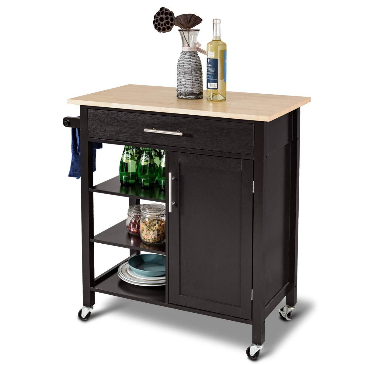 Giantex Kitchen Trolley Cart w/Wheels Rolling Storage Cabinet Wooden Table Multi-Function Island Cart Kitchen Truck (Brown)