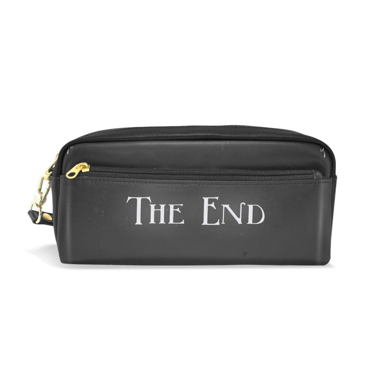 LORVIES Movie Ending Screen Portable PU Leather Pencil Case School Pen Bags Stationary Pouch Case Large Capacity Makeup Cosmetic Bag