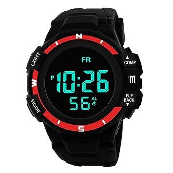 Gaddrt - Reloj Digital de Pulsera para Hombre, analógico, Militar, LED, Resistente al Agua, Rojo: Amazon.es: Deportes y aire libre