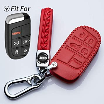 Alegender Red Hand Sewing Leather Key Cover Case Fob Skin Bag Fit for Jeep Grand Cherokee Chrysler 200 300 Dodge Durango Charger Challenger Journey Fiat