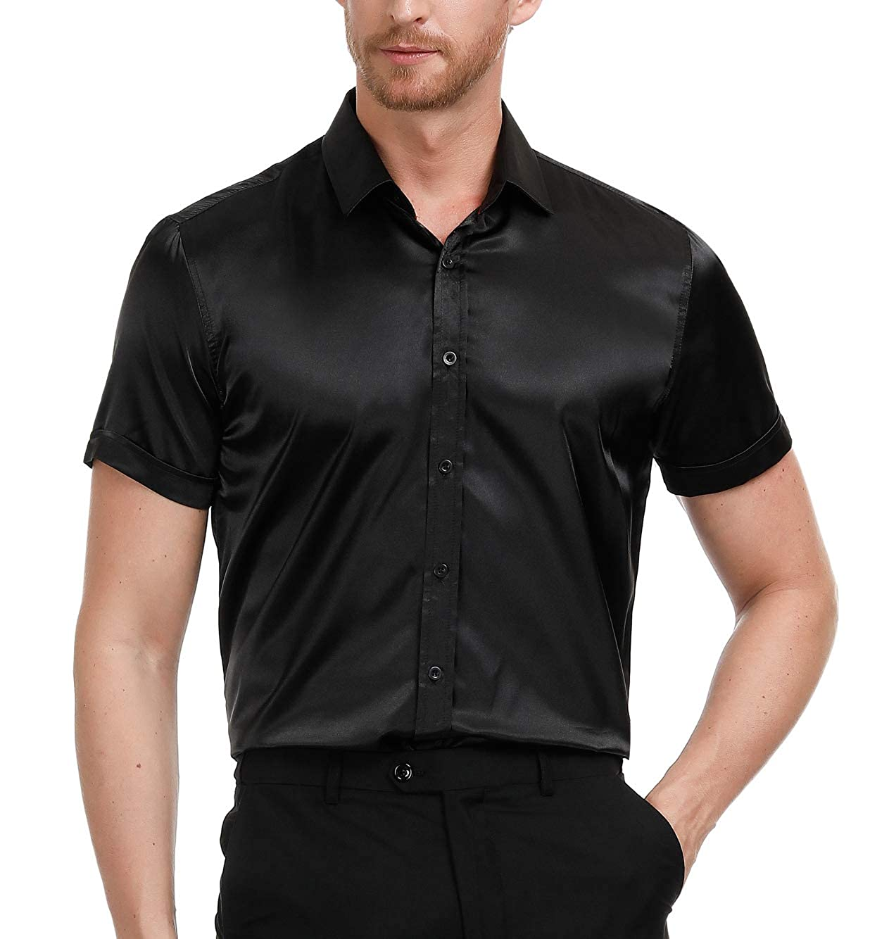 eb386534 Mens Silk Dress Shirt Black | Top Mode Depot