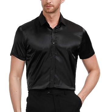 74c1239a87294 PAUL JONES Men s Short Sleeve Shiny Silk Like Satin Dance Prom Luxury Dress  Shirt Black