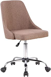 Porthos Home Office Chair with Fabric Upholstery, Adjustable Height Brown