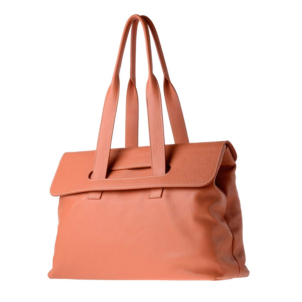 Dollaro ~ Aurora Womens leather tote bag large size with double handles DUDU Orange