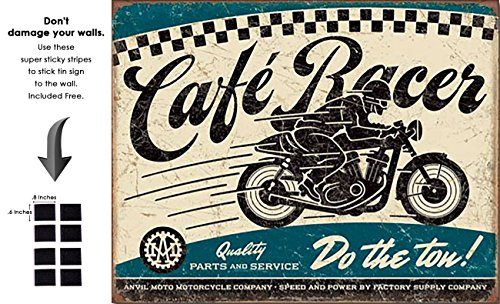 Shop72 - Cafe Racer - Do The Tow Tin Sign Bikes Tin Sign Retro Vintage Distrssed - with Sticky Stripes No Damage to Walls (Best Retro Bikes In India)