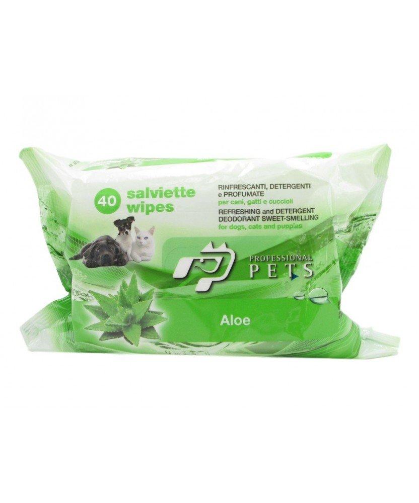 SALVIETTE PROFESSIONAL PETS ALOE - Salviettine detergenti profumate all'aloe per cani, gatti e cuccioli (1 confezione)