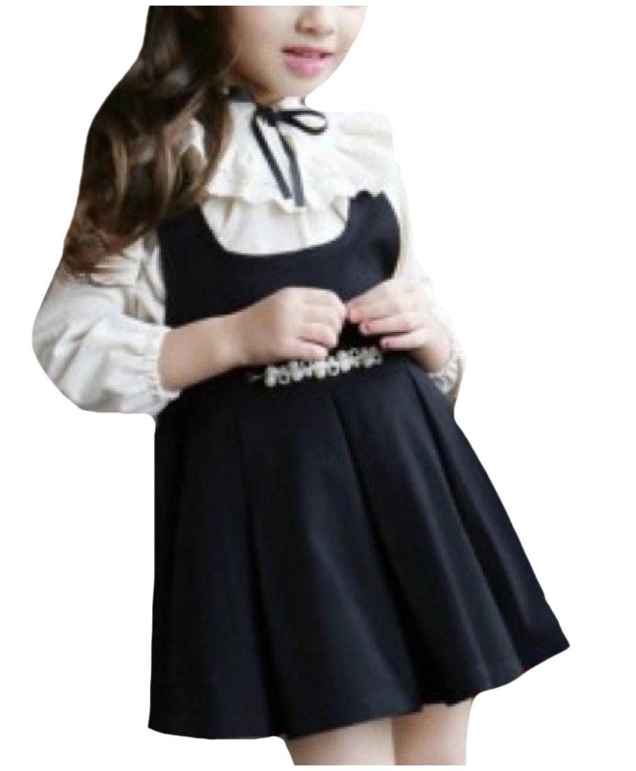 Tootless Girls Fine Cotton Fall Ruffled Overall Dress Skirt with Blouses Black 130