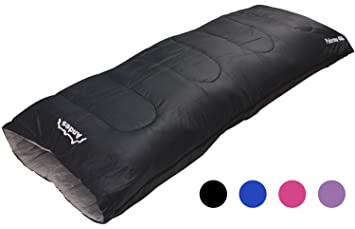 Andes Palermo 400 3 4 Season Camping Envelope Sleeping Bag Black