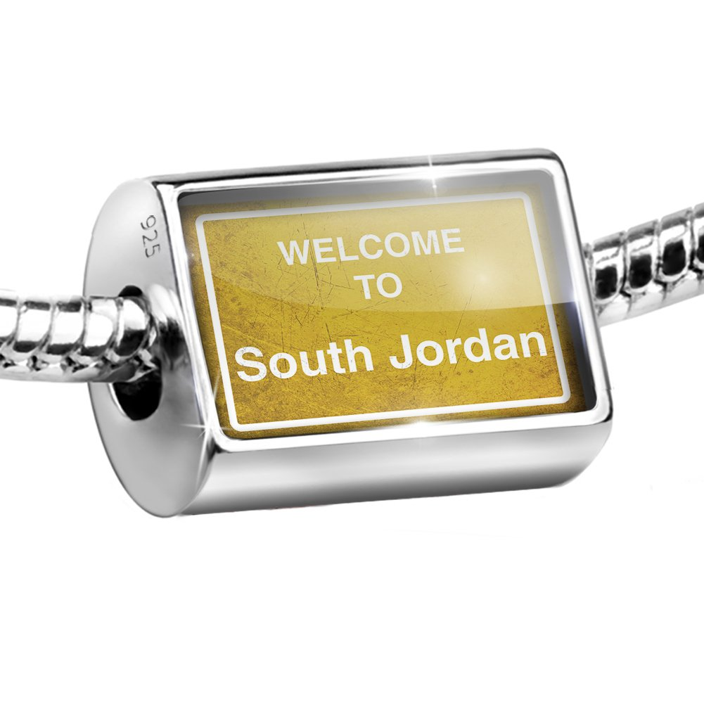 Sterling Silver Bead Yellow Road Sign Welcome To South Jordan Charm Fits All European Bracelets