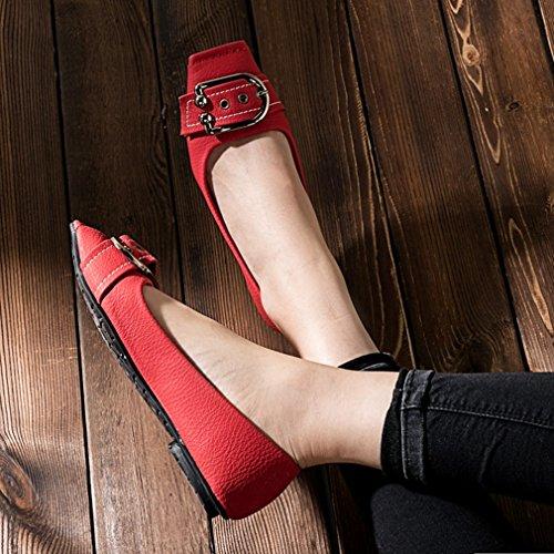 Giy Kvinners Uformelle Retro Firkantet Tå Loafers Komfort Moccasin Leiligheter Slip-on Spenne Kjole Penny Dagdriver Sko Rød