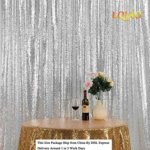 LQIAO Glitz 10x10ft Silver Shimmer Sequin Fabric Photography Backdrop, Gold Sequin Photo Booth Background Curtain Panel for Party Decoration, Pocket 10x10FT(300x310cm) ()