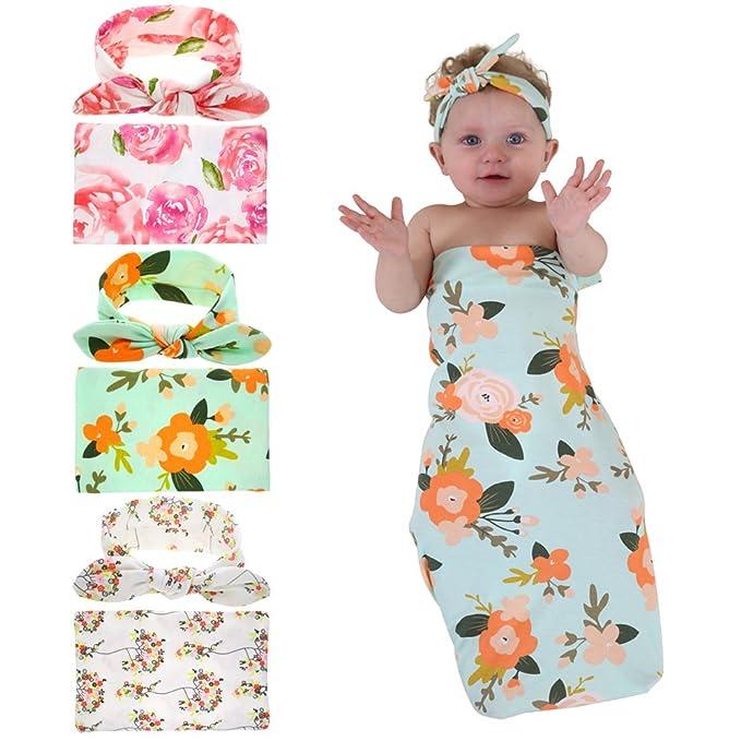 Quest Sweet Newborn Swaddle,Swaddle Cocoon,Blanket&Headband Set Nursery Bedding 1-3 Pack