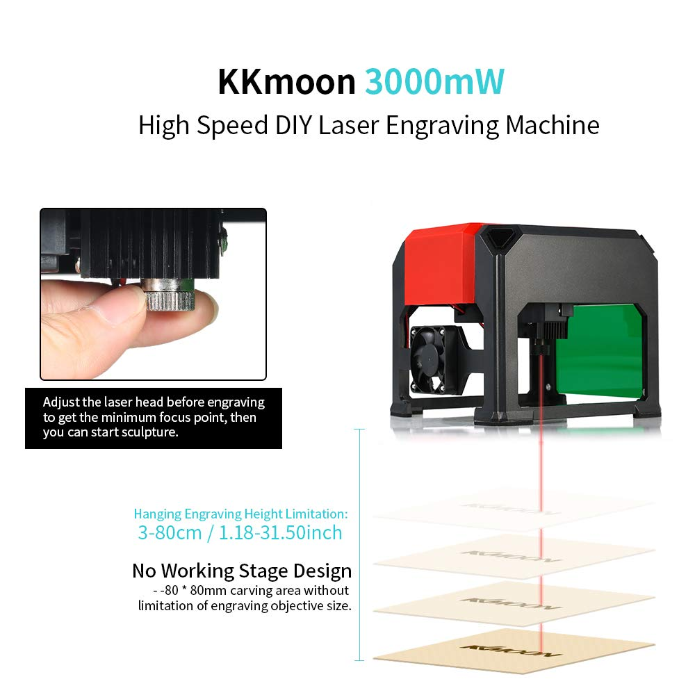 KKmoon Tipo K5 automático Nuevo Marca 3000mW Máquina de Grabado láser de Alta Velocidad, Herramientas de Quema de Madera con área de Grabado Grande de 80 ...