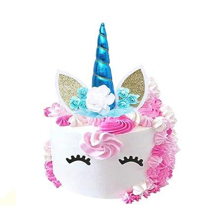 Decoración para tarta de unicornio, cuerno de unicornio ...