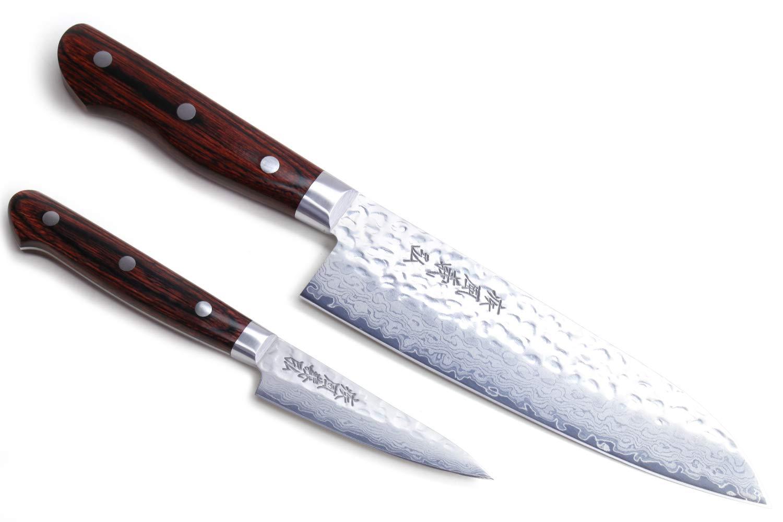 Yoshihiro VG-10 Hammered Damascus Stainless Japanese Chefs Knife Santoku 7'' (180mm) & Paring Utility Knife 3.2'' (80mm) Set