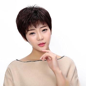 TT La Sra cara de reparación natural mullida corta la quimioterapia peluca recta