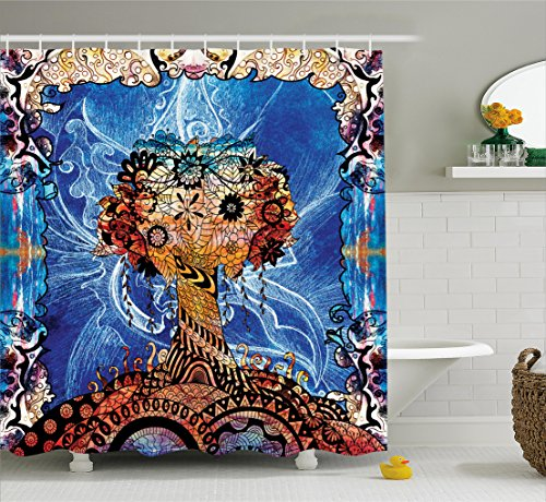 Trippy Shower Curtain by Ambesonne, Indie Style Sketchy Retro Tree with Flower Forms on Paisley Backdrop Abstract Image, Fabric Bathroom Decor Set with Hooks, 70 Inches, Blue Brown