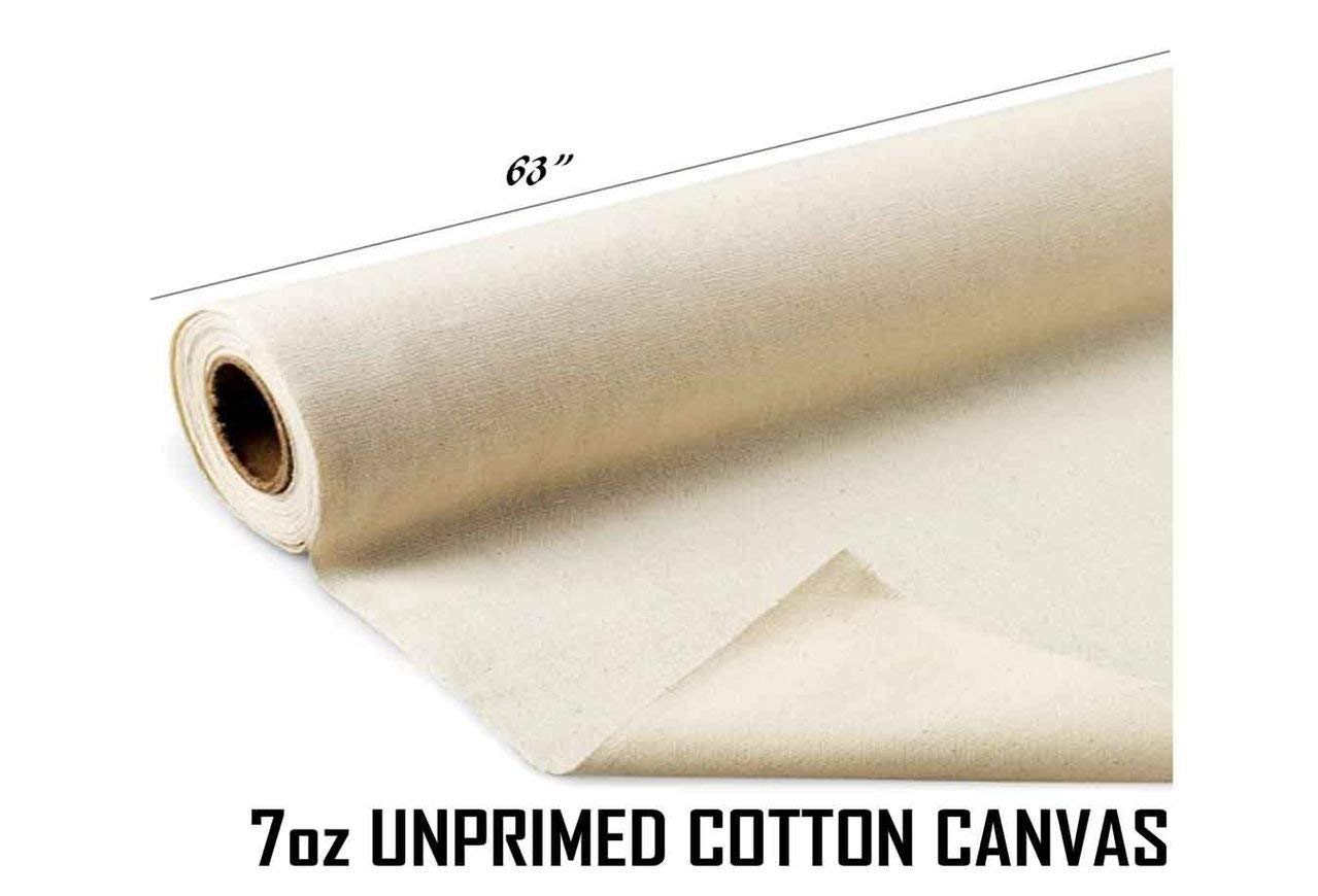 AK Trading 63'' Wide Unprimed Cotton Canvas Fabric 7oz Natural Duck Cloth, x 10 Yards