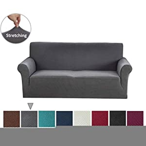 Argstar Jacquard Sofa Cover Couch Slipcover erSoft Elastic Gray