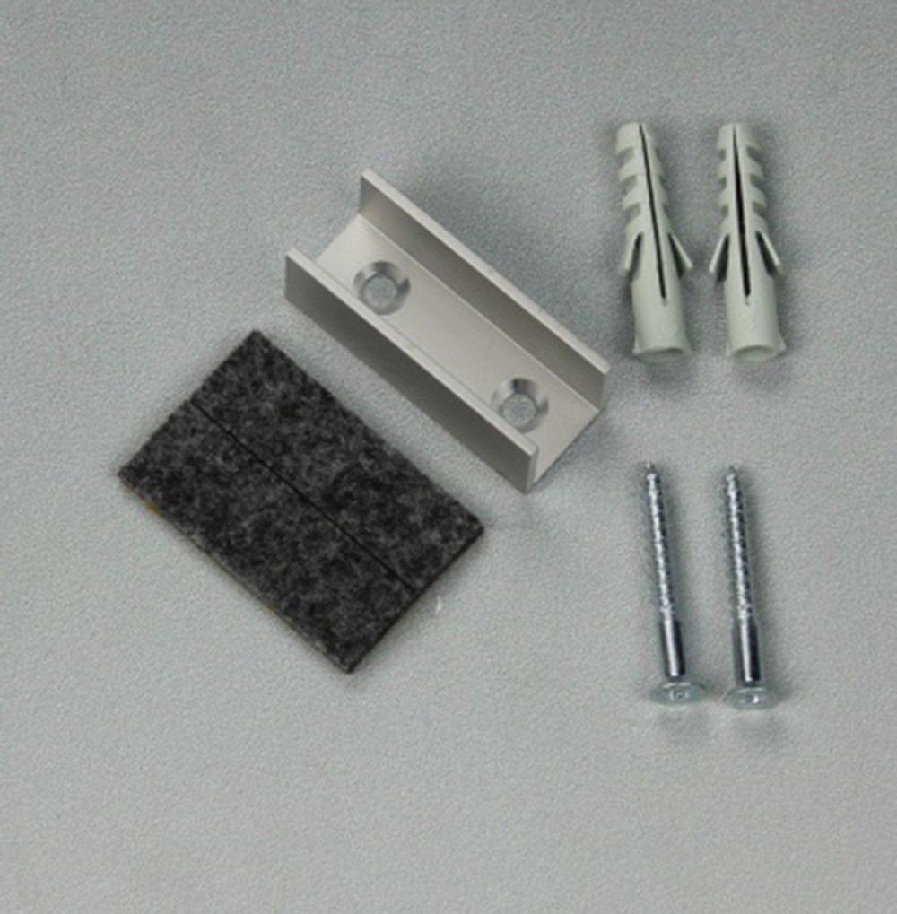 Fertig zur Installation f/ür Glast/üren von 8-10 mm St/ärke Anzahl Lieferung: 1 Dank Filzeinlage sehr ruhiger Lauf des Glases garantiert LEVIDOR /® Glasschiebet/ür Bodenf/ührung aus Aluminium