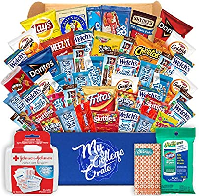 My College Crate Large Ultimate Snack Care Package for College Students -  Variety Assortment of Cookies, Chips & Candies - 50 Snacks + 4 Personal  Care
