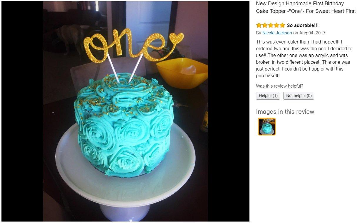 Amazon New Design Handmade First Birthday Cake Topper One