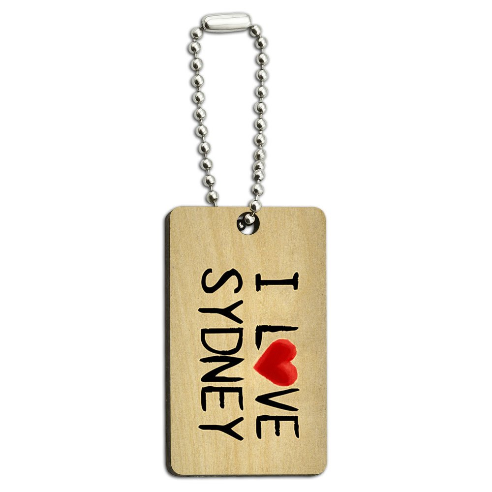 I Love Sydney Written on Paper Wood Wooden Rectangle Key Chain