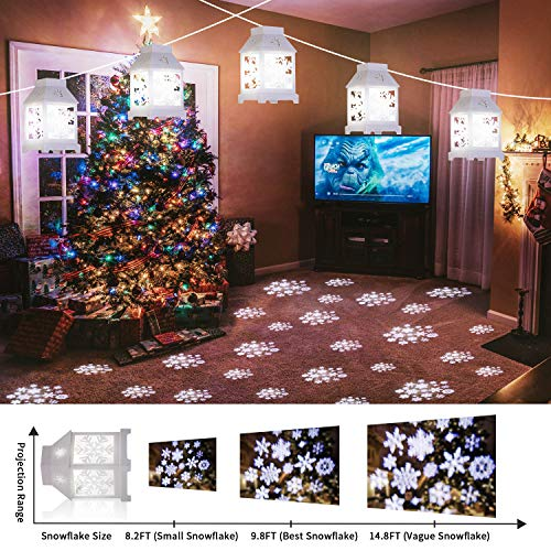 Yostyle Christmas Decoration String Lights with Snowflake Projector,22FT 6PCS Vintage Christmas String Lights for Xmas Indoor Outdoor Garden Patio Yard Bedroom Holiday Decor (White)