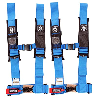 "Pro Armor A114230VBMPK2 Voodoo Blue 4 Point 3"" Harness with Sewn in Pads, 2 Pack: Automotive"