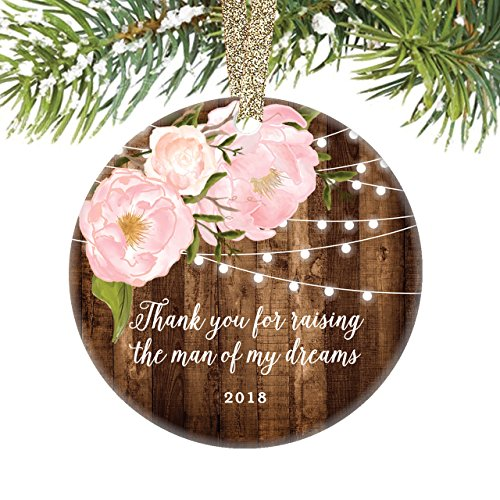 Mother In Law Gifts 2018, Thank You For Raising The Man of My Dreams, Christmas Ornament from Daughter In-Law Bride Present Keepsake Dated Peony 3