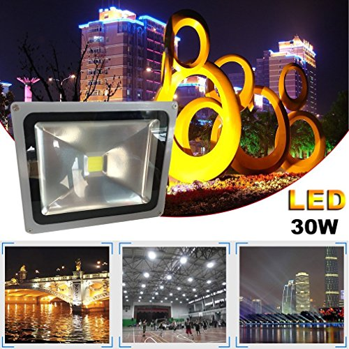 Soberbar High Brightness LED Flood Light IP67 85-265V Outdoor Garden Security Lighting Garden Waterproof Security Lighting Square Floodlight US Plug by Soberbar (Image #1)