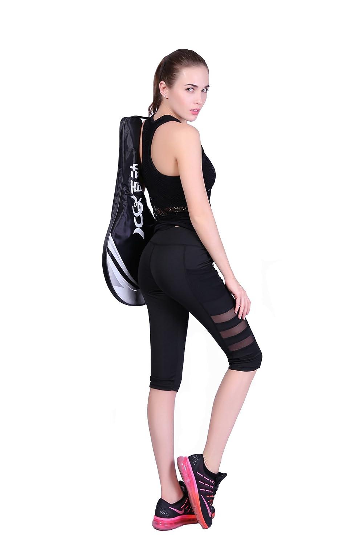 HKJIEVSHOP Mesh Insert Capri Leggings Womens Yoga Pants with Pocket Workout Sports Leggings Yoga Tights