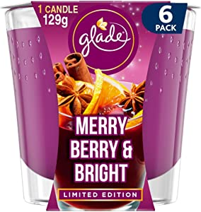 Glade Scented Candle, Air Freshener Wax Candle for Aromatherapy, 129 g, 30 Hour Burn Time, Merry Berry & Bright, 6 Candles