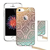 iPhone SE Case, iPhone 5S Case, iPhone 5 Case,ESR Floral Flower Pattern Cover for Girls/Women [Anti Scratch PC Back + Soft Bumper] for iPhone SE/5S/5 (Gold Henna)