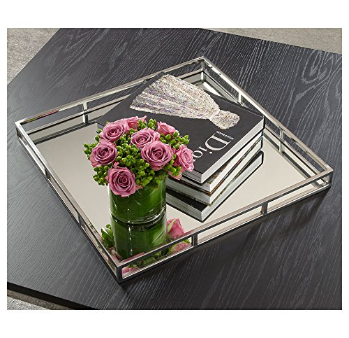Chrome Tray (Beautiful Mirrored Tray With Chrome Rails, Elegant Square Vanity Mirror Tray with With Side Bars, Makes A Great Bling)