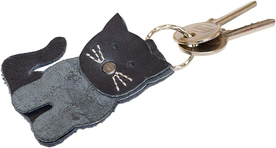 Handmade Includes 101 Year Warranty Cat Keychain Leather//Key Ring//Holder//Animal Lover//Cute Gifts//Accessories Charcoal Black Hide /& Drink