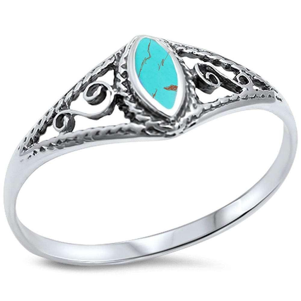 Brightt Green Turquoise W//Fancy Design .925 Sterling Silver Ring Sizes 5-10