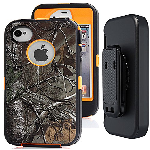 iphone 4s Camo Case with Belt Clip,Auker Heavy Duty Defender Shockproof Natural Tree Camouflage Weather Resistant Anti-slip Tough Rugged TPU Rubber Case with Screen Protector for iphone 4/4s (Xtra)