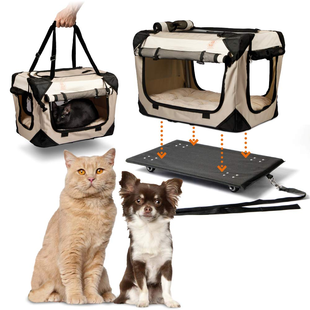 PetLuv ''Pull-Along Rolling Cat & Dog Carrier & Travel Crate on Wheels - Locking Zippers, Matching Comfy Plush Nap Pillow, Reduces Anxiety